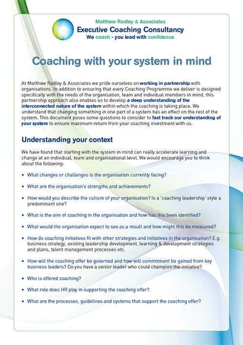 Matthew Radley & Associates -Creating your Coaching Culture
